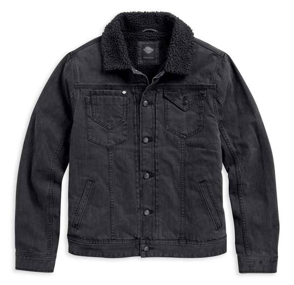 Harley-Davidson Men's Sherpa Fleece Collar Denim Causal Jacket, Black 97408-17VM - Wisconsin Harley-Davidson