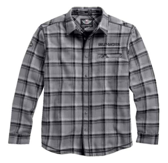 Harley-Davidson Men's Plaid Flannel Long Sleeve Over Shirt, Gray 96456-17VM - Wisconsin Harley-Davidson