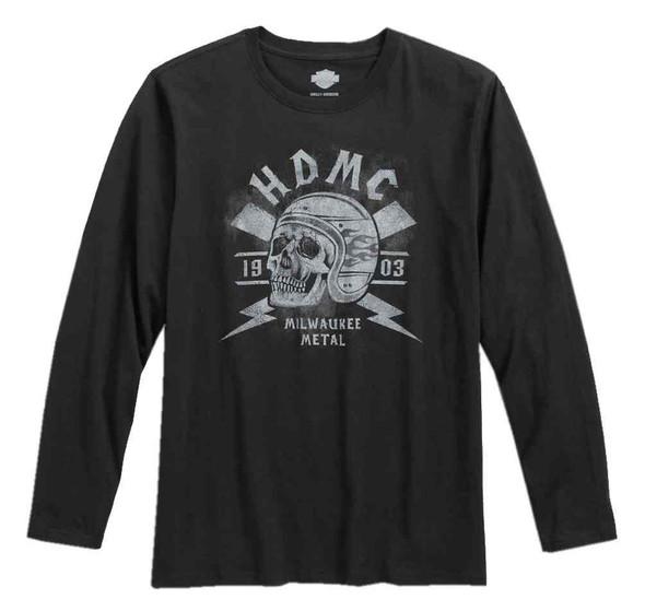 Harley-Davidson Men's Black Label HDMC Skull Long Sleeve Shirt, Black 96573-17VM - Wisconsin Harley-Davidson