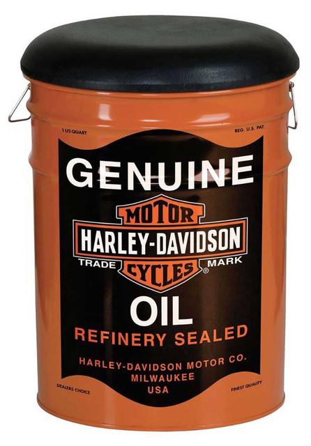 Harley-Davidson Genuine Oil Can Bucket Stool, Steel Barrel, 13 gal. HDL-12131 - Wisconsin Harley-Davidson