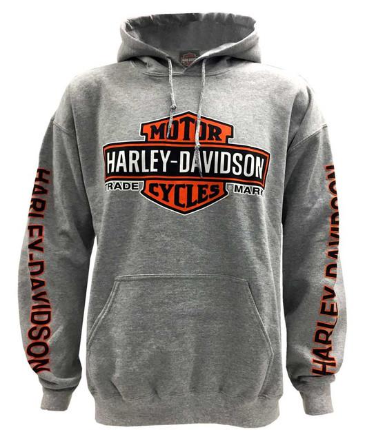 Harley-Davidson Men's Bar & Shield Logo Pullover Hooded Sweatshirt, Gray - Wisconsin Harley-Davidson