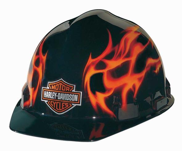 Harley-Davidson Flames Bar & Shield Logo Safety Hard Hat, Gloss Black HDHHAT10 - Wisconsin Harley-Davidson