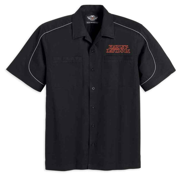 Harley-Davidson Men's Burning Skull Garage Short Sleeve Shirt, Black 99004-16VM - Wisconsin Harley-Davidson