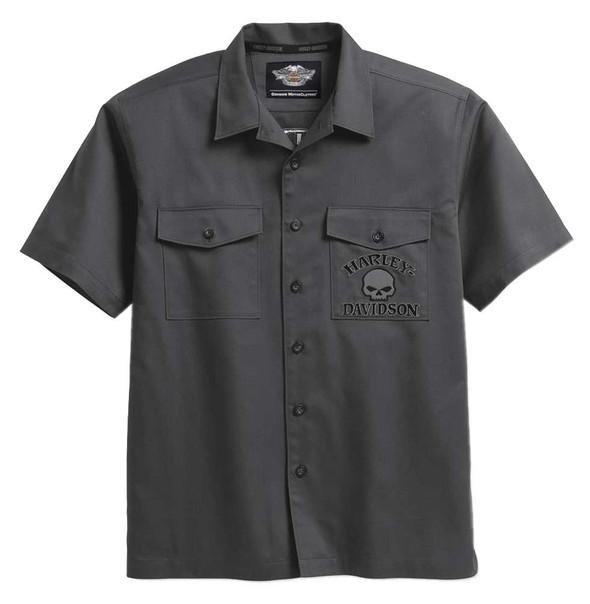 Harley-Davidson Men's Willie G Skull Short Sleeve Garage Shirt, Gray 99028-17VM - Wisconsin Harley-Davidson