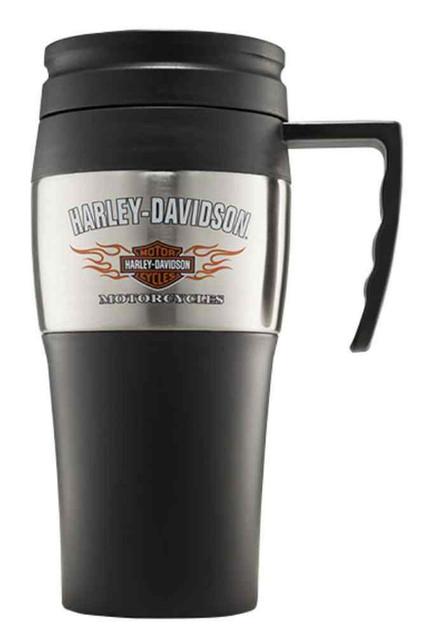 Harley-Davidson Bar & Shield Flames Stainless Steel Travel Mug, 14 oz.99221-16V - Wisconsin Harley-Davidson