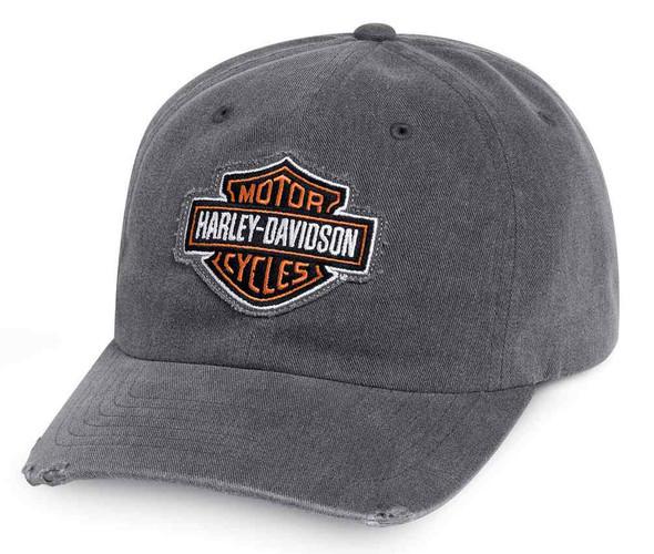 Harley-Davidson Men's Bar & Shield Frayed Logo Baseball Cap, Gray 99412-16VM - Wisconsin Harley-Davidson