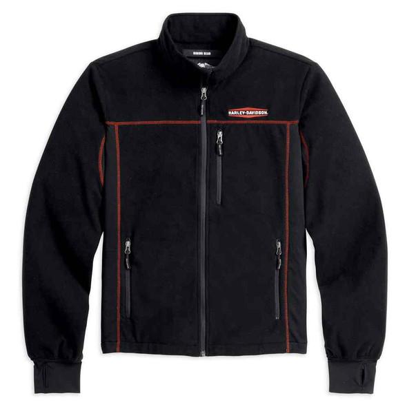 Harley-Davidson Men's Fleece Mid-Layer Windproof Jacket, Black 98571-16VM - Wisconsin Harley-Davidson