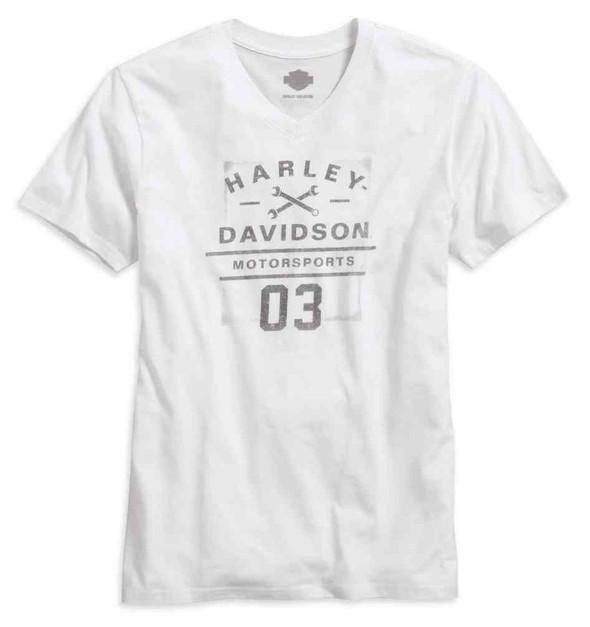 Harley-Davidson Men's Motorsports V-Neck Short Sleeve T-Shirt, White 96476-16VM - Wisconsin Harley-Davidson
