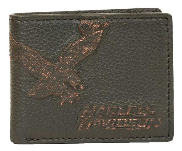 Harley-Davidson Men's Vintage Eagle Billfold w/ Flip Out Wallet EV4347L-BLACK - Wisconsin Harley-Davidson
