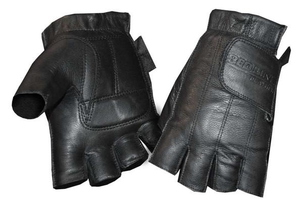 Redline Women's Gel Padded Leather Fingerless Motorcycle Gloves, Black GL-59 - Wisconsin Harley-Davidson