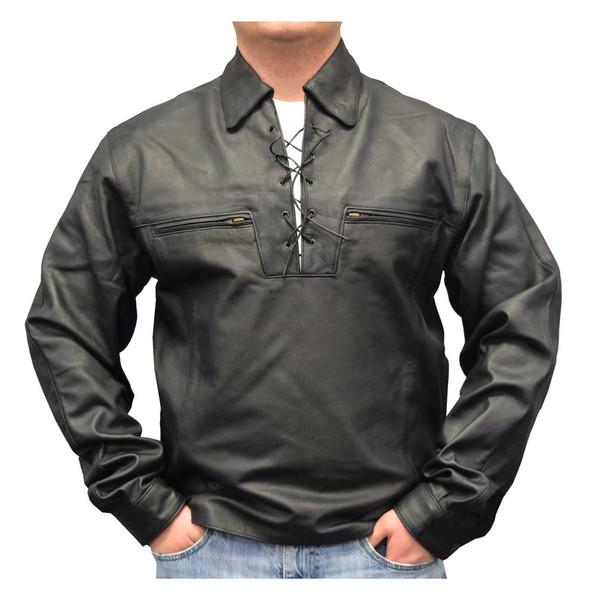 Redline Men's Lightweight Lace Up Front Leather Riding Shirt, Black M-1900 - Wisconsin Harley-Davidson