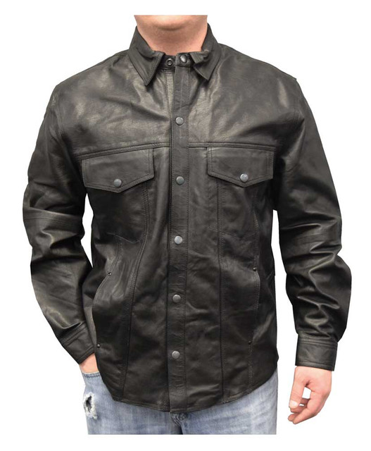 Redline Men's Lightweight Snap Down Collar Leather Riding Shirt, Black M-1800 - Wisconsin Harley-Davidson