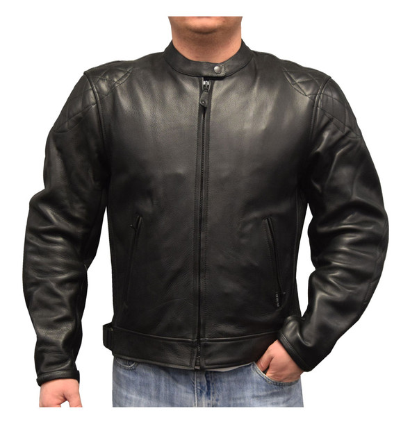 Redline Men's Cowhide Leather European Motorcycle Jacket w/ Armor, Black M-250 - Wisconsin Harley-Davidson