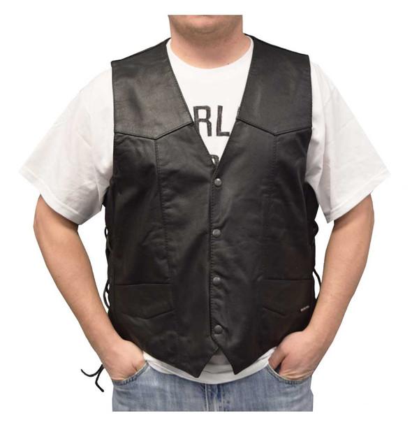 Redline Leather Men's Buffalo Milled Leather Motorcycle Vest, Black M-125 - Wisconsin Harley-Davidson