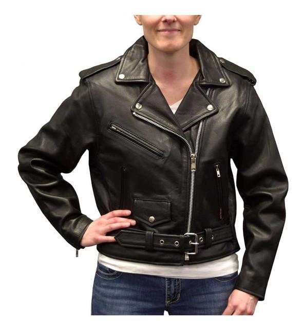 Redline Women's Angled Zipper Goat Leather Motorcycle Jacket, Black L-3300 - Wisconsin Harley-Davidson