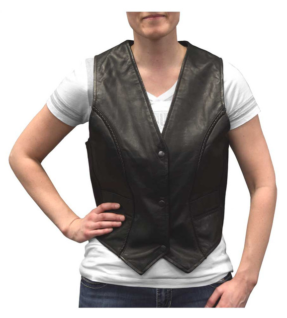 Redline Leather Women's Snap Front Goat Leather Motorcycle Vest, Black L-11BS - Wisconsin Harley-Davidson