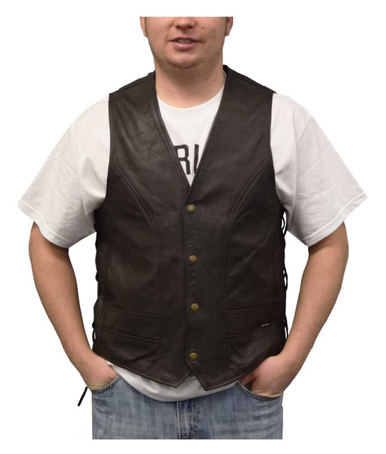 Redline Leather Men's Naked Leather Motorcycle Riding Vest, Brown M-2200SD-BROWN - Wisconsin Harley-Davidson