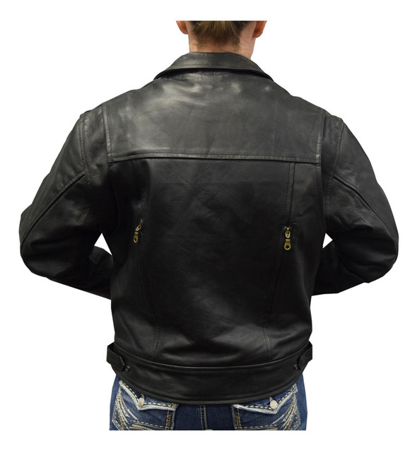 Ladies Black Lightweight Goatskin Leather Biker Jacket w