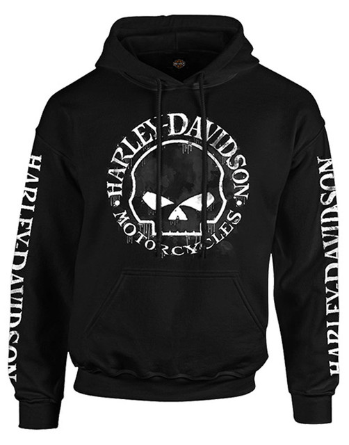 Harley-Davidson Men's Hand Made Willie G Skull Pullover Hooded Sweatshirt, Black - Wisconsin Harley-Davidson