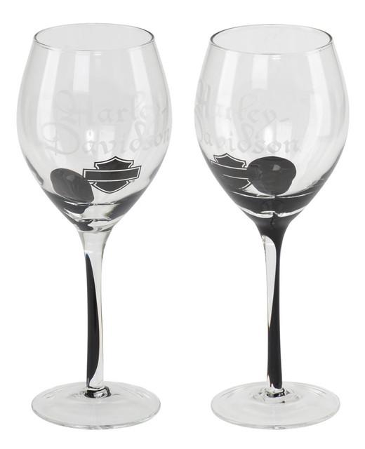 Harley-Davidson Silhouette Bar & Shield Wine Glass Set, 12 oz. HDL-18767 - Wisconsin Harley-Davidson