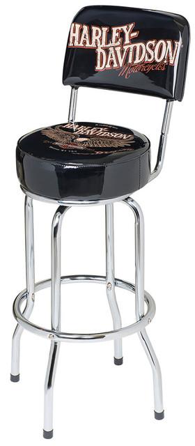 Harley-Davidson Bar & Shield Eagle Bar Stool W/ Backrest, Black HDL-12211 - Wisconsin Harley-Davidson