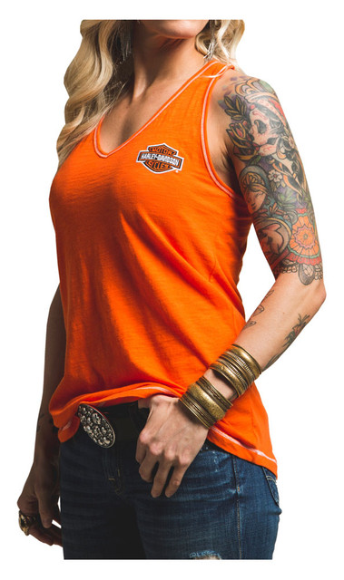 Harley-Davidson Women's Chasing Freedom Sleeveless Tank Top, Orange H329-HB7L - Wisconsin Harley-Davidson