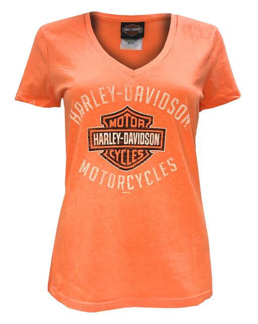 Harley-Davidson Women's Chrome Options B&S Short Sleeve Tee, Orange 5B38-HE23 - Wisconsin Harley-Davidson