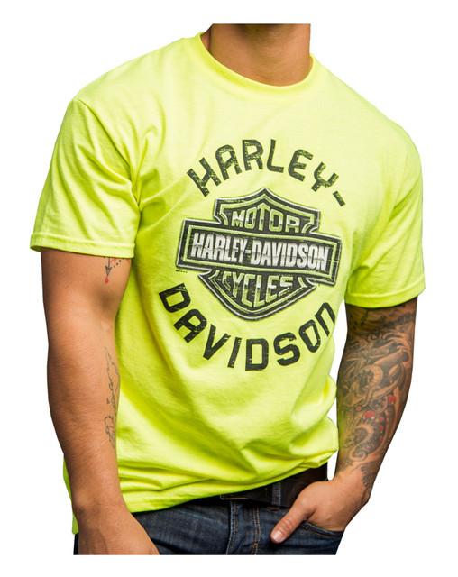 Harley-Davidson Men's Chrome Attraction Short Sleeve Tee, Safety Green 5Q11-HE18 - Wisconsin Harley-Davidson