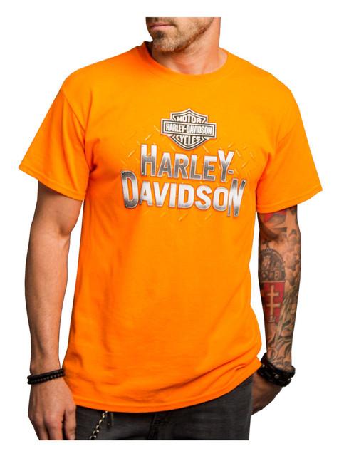 Harley-Davidson Men's Tied In Knots Short Sleeve Tee, Safety Orange 5Q11-HE19 - Wisconsin Harley-Davidson
