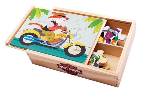 Harley-Davidson Kid's Wooden Puzzle Set, 4 Puzzles Set, 8 x 5.5 inches 20337 - Wisconsin Harley-Davidson