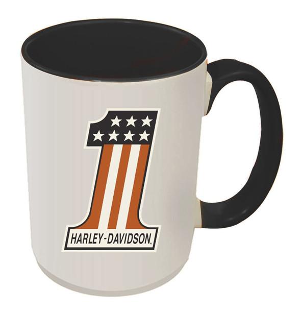 Harley-Davidson #1 RWB Logo Coffee Mug, 15 oz White w/ Black Inside HD-HNO-1772B - Wisconsin Harley-Davidson
