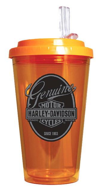 Harley-Davidson Genuine Bar & Shield On The Go Lid Drinkware, Orange HD-GEN-1745 - Wisconsin Harley-Davidson
