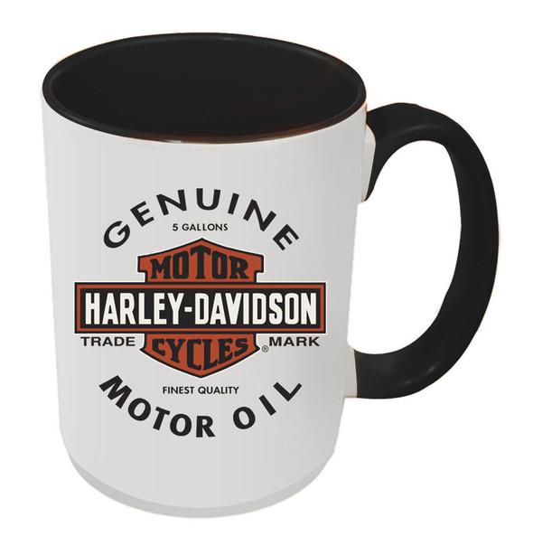 Harley-Davidson Genuine B&S Coffee Mug, 15 oz White w/ Black Inside HD-GMO-1772B - Wisconsin Harley-Davidson