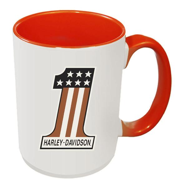Harley-Davidson #1 RWB Logo Coffee Mug, 15 oz White & Orange Inside HD-HNO-1772O - Wisconsin Harley-Davidson