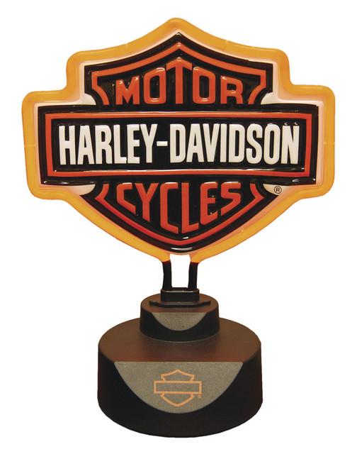 Harley-Davidson Molded Neon Bar & Shield Logo Desk Light, Orange Neon HD-HD-893 - Wisconsin Harley-Davidson