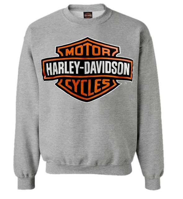 Harley-Davidson Mens Bar & Shield Long Sleeve Crew Neck Fleece Sweatshirt, Gray - Wisconsin Harley-Davidson
