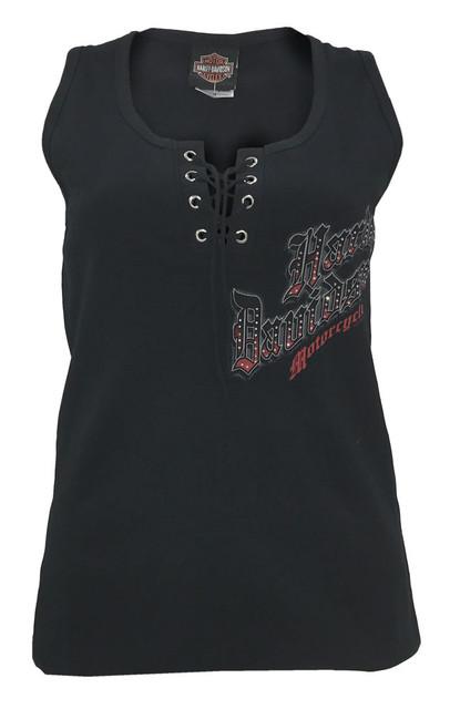 Harley-Davidson Women's Gusty Lace Up & Embellished H-D Tank Top, Black - Wisconsin Harley-Davidson
