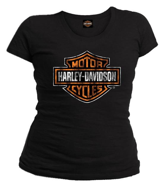 Harley-Davidson Women's Distressed Bar & Shield Short Sleeve Tee, Solid Black - Wisconsin Harley-Davidson