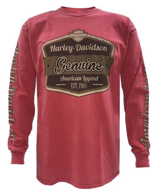 Harley-Davidson Men's Distressed American Legend Long Sleeve Shirt, Crimson Red - Wisconsin Harley-Davidson