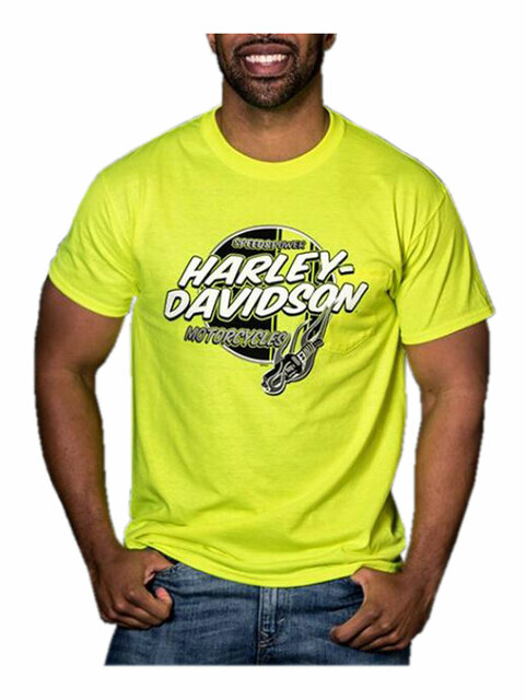 Harley-Davidson Men's Ignite Chest Pocket Short Sleeve T-Shirt, Safety Green - Wisconsin Harley-Davidson