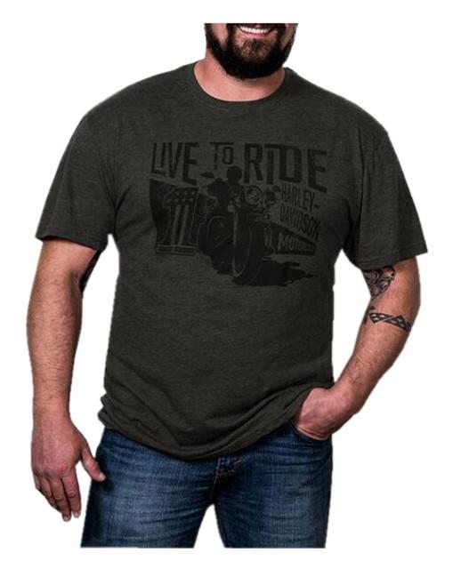 Harley-Davidson Men's Open Road Short Sleeve Crew Neck T-Shirt, Charcoal Gray - Wisconsin Harley-Davidson