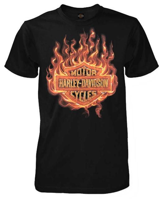 Harley-Davidson Men's Blaze Bar & Shield Short Sleeve Crew Neck T-Shirt, Black - Wisconsin Harley-Davidson