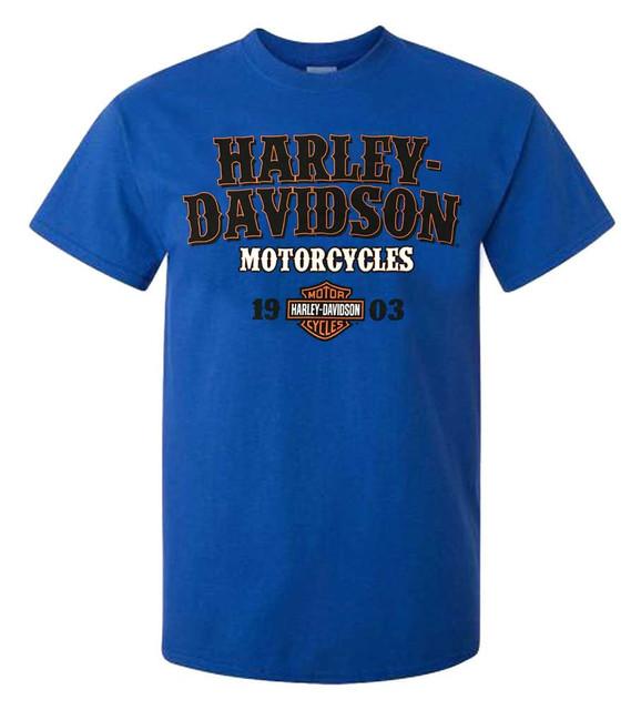Harley-Davidson Men's I.D. H-D Script Short Sleeve Crew T-Shirt, Royal Blue - Wisconsin Harley-Davidson