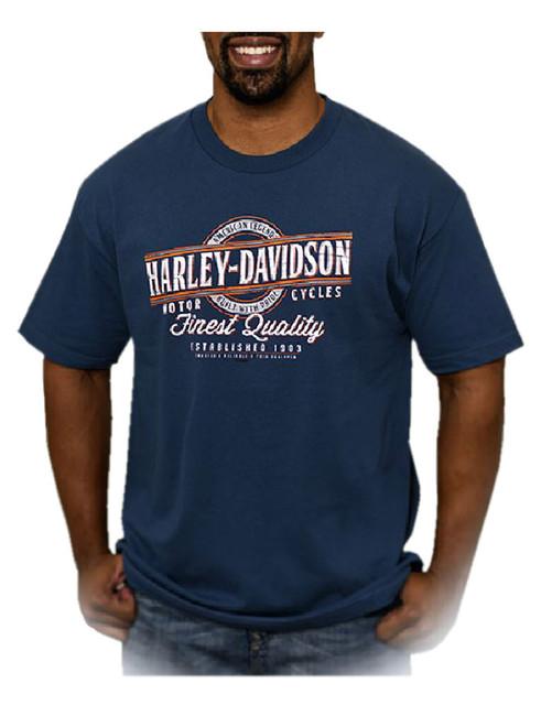 Harley-Davidson Men's Grandstand H-D Script Short Sleeve T-Shirt, Harbor Blue - Wisconsin Harley-Davidson