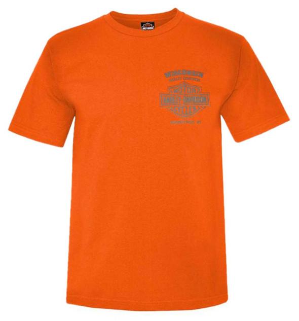Harley-Davidson Men's Back Off Bar & Shield Short Sleeve T-Shirt, Safety Orange - Wisconsin Harley-Davidson