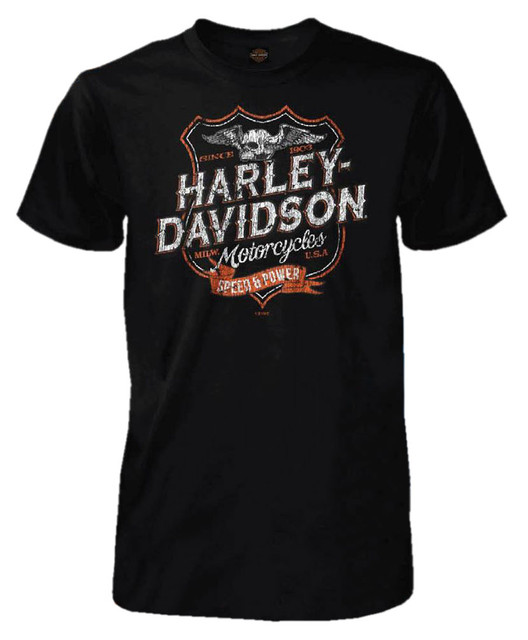 Harley-Davidson Men's Destination Shield Short Sleeve Tall T-Shirt, Solid Black - Wisconsin Harley-Davidson