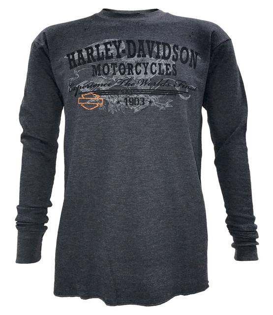 Harley-Davidson Men's Ancestry Thermal Crew Neck Long Sleeve Shirt, Indigo Blue - Wisconsin Harley-Davidson