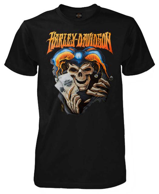 Harley-Davidson Men's Harlequin Joker Skull Short Sleeve T-Shirt, Solid Black - Wisconsin Harley-Davidson