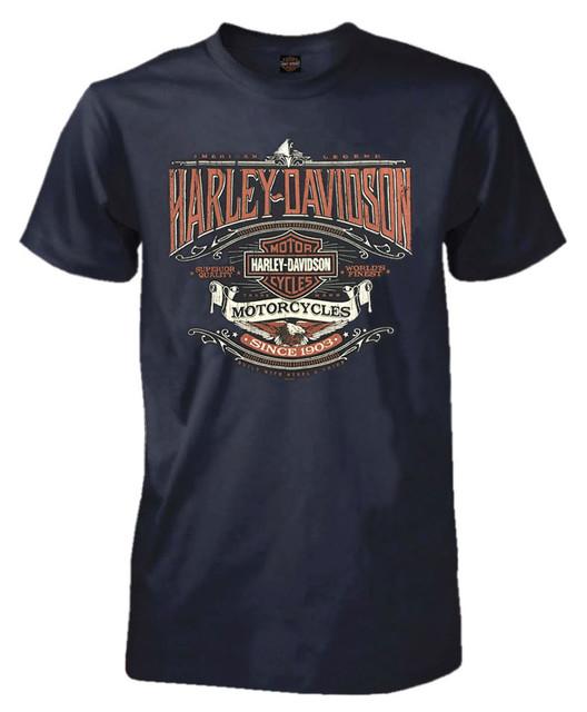 Harley-Davidson Men's Heirloom H-D Script Short Sleeve T-Shirt, Navy Blue - Wisconsin Harley-Davidson