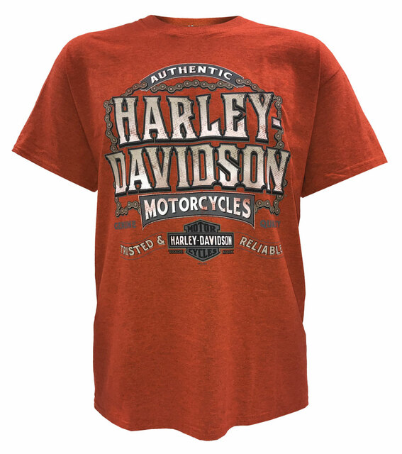 Harley-Davidson Men's Drive Chain H-D Short Sleeve T-Shirt, Burnt Sienna - Wisconsin Harley-Davidson